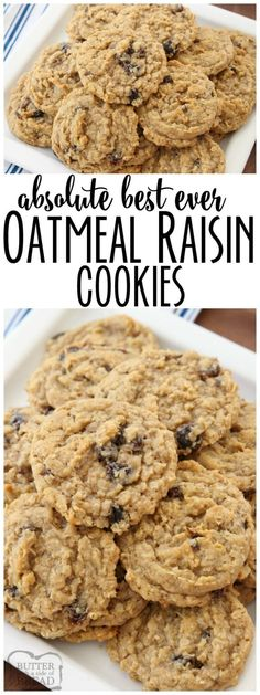 Oatmeal Raisin Cookies that truly are the BEST EVER! Oatmeal, raisins, pudding mix & spices combine in most delicious, soft & chewy Oatmeal Raisin Cookies. Soft Oatmeal Raisin Cookies, Oatmeal Rasin Cookie Recipe, Raisen Cookies, Vanilla Pudding Cookies, Oatmeal Scotchies, Oatmeal Muffins, Baked Oatmeal, Baking Recipes, Cookie Recipes