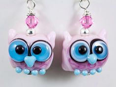 Pink Blue Owl Lampwork Bead Earrings by maybeads on Etsy, $28.00