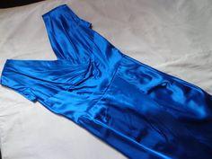 1950's Dress blue satin Elka label. by vintagewayoflife on Etsy