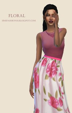 Sims 4 CC's - The Best: Floral Dress by SimsFashion01