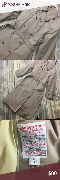 London Fog Lovely Tan Trench Coat Size 10 Lovely tan trench coat. In excellent condition! Fully lined. Size 10P. Pockets on sides. Removable inside lining. Comes with belt. 43 inches long. Padded shoulders. 22 inch sleeves. 19 inches arm pit to arm pit. London Fog Jackets & Coats Trench Coats
