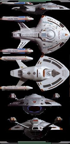 Starboard, dorsal, ventral, bow and stern views of U.S.S. Rhode Island, NCC-72701