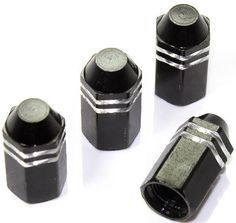 """Amazon.com : (4 Count) Cool and Custom """"Hexagon Pointed Flat Top with Easy Grip Shape"""" Tire Wheel Rim Air Valve Stem Dust Cap Seal Made of Genuine Anodized Aluminum Metal {Classic GMC Black and Silver Colors - Hard Metal Internal Threads for Easy Application - Rust Proof - Fits For Most Cars, Trucks, SUV, RV, ATV, UTV, Motorcycle, Bicycles} : Sports & Outdoors"""