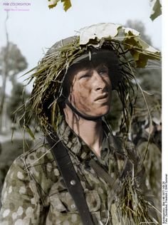 Grenadier of German 12th SS Panzer Division 'Hitlerjugend', France, 21 Jun 1944.  The 12 SS Hitlerjugend division was created in 1943 the emblem of the division show a Sieg rune and a key from the 1.SS Leibstandarte Adolf Hitler, in 1943 more than 16,000 men where in the Hitlerjugend division, theses soldiers fought in the East and west.