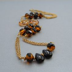 Midnight Glow Necklace  Czech Fire Polish Glass by OnThirdThought
