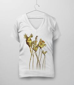 Dali Chocobos | Video Game Art T-Shirt with Final Fantasy 7 Chocobos in the surrealist art style of Salvador Dali. Pictured: White Womens V-Neck Tee Shirt