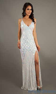 Long V-Neck Sequin Formal Dress by Primavera - Champagne - Dresses ...