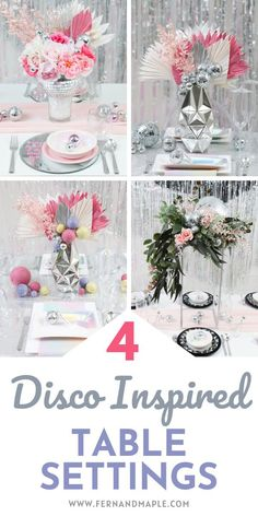 How to create four disco inspired table settings, full of glitz and glam, and perfect for wedding receptions or parties of any type! Get all of the disco ball place setting, backdrop, and centerpiece ideas now at fernandmaple.com!