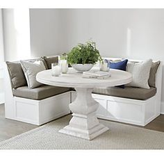 Where to buy a Senna 3 Piece Banquette Seating Set? Discover stylish new kitchen and dining furniture from Ballard Designs and find the perfect Senna 3 Piece Banquette Seating Set for your perfect home! Kitchen Nook Bench, Booth Seating In Kitchen, Corner Bench Seating, Banquette Seating In Kitchen, Kitchen Booths, Storage Bench Seating, Corner Dinning Table, Dining Tables, Nook Dining Set