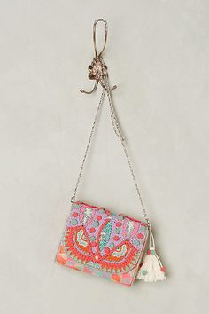 Anthropologie Pink Divya Beaded Clutch