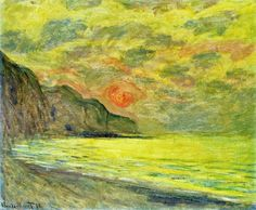 Claude Monet - Sunset, Foggy Weather, Pourville, 1882. Oil on canvas, 61.9 x 74.9 cm. Private Collection