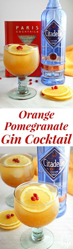 Orange Pomegranate Gin Cocktail recipe - A Dish of Daily Life Celebrate the season with this Orange Pomegranate Gin Cocktail.winter fruits combine with Citadelle gin for the perfect holiday cocktail! Best Gin Cocktails, Gin Cocktail Recipes, Winter Cocktails, Cocktail Drinks, Drink Recipes, Holiday Drinks, Refreshing Drinks, Fun Drinks, Yummy Drinks