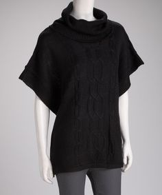 Wonderfully Warm: Black Cable-Knit Cape-Sleeve Sweater