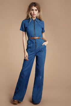 fc7f7a7b72 Blue Jean Baby 70 s Jumpsuit Denim Jumpsuit