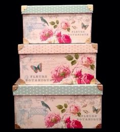 3 Tri-Coastal Shabby Chic Floral Butterfly Storage Keepsake Trunk Chest Boxes