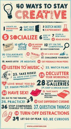 In a creative rut? Check out 40 ways to stay creative at http://webmag.co/40-ways-stay-creative/ #ContentMarketing #Infographic