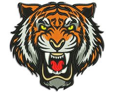 Tiger Embroidery design - Machine embroidery design by NushNusha on Etsy Angry Animals, Tiger Illustration, Tiger Art, Tiger Tiger, Tiger Logo, Tiger Design, Tiger Tattoo, Mask Tattoo, Japanese Embroidery
