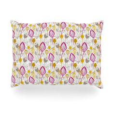 """Julie Hamilton """"Mulberry"""" Pink Yellow Oblong Pillow"""