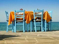 table in Greece Samos, Outdoor Furniture Sets, Outdoor Decor, Mykonos, Summertime, Outdoor Living, Island, Country, Beach