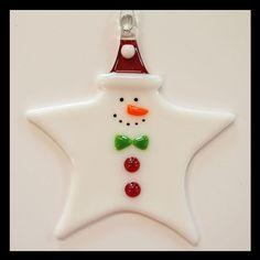 Glassworks Northwest Star Snowman Fused-glass Ornament