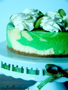 I usually think of mint when I think of St. Patrick's Day but this Key Lime Cheescake from Say It With Cake has me thinking otherwise.