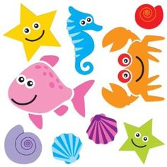 Gel Art Beach Creatures Window Decorations - Medium sized pack of 3D Printed Gels that stick to windows & mirrors etc: Amazon.co.uk: Toys & Games