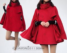 red cape Wool Cape Cashmere coat breasted button coat winter coat  cloak  cape dy04 M,L on Etsy, $64.99