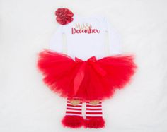 Miss December / December Birthday Outfit / Baby Girl Birthday outfit / Birthday Outfit / Winter Birthday outfit / red and gold