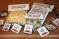 Road Trip Kit. So cute....license plate game printable (now I don't have to spell each state for the kid as they write them down!), a trip time line, cute labels for the snacks!