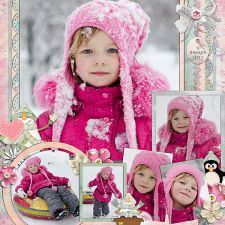 Sweet Pastel Pink Girl's Winter Scrapping Page...love the combination of the rectangular and circle photos.  Digishoptalk.  Picture only for inspiration.