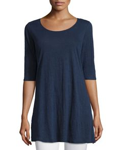 Half-Sleeve+Linen+Jersey+Layering+Tunic+by+Eileen+Fisher+at+Neiman+Marcus.