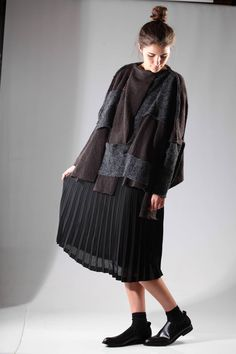 COMME DES GARÇONS - Calf-Length Dress With Heavy Knitted Abstract Long Bodice On A Polyester Georgette Bottom :: Ivo Milan