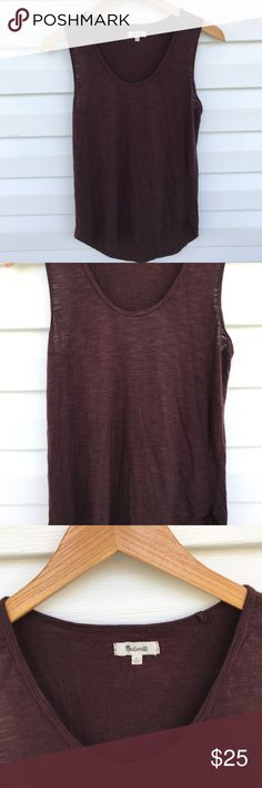 "Madewell Burgundy High/Low Tank Top Burgundy/brown tank top made by Madewell Size Small 100% Viscose Pit to Pit 18"" Length Front  24"" Back 26"" *Measurements taken flat* Gently Worn Madewell Tops Tank Tops"
