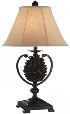 Pine Cone Table Lighting Pinecone Lamp with Bell Shade Lamps Shape SET of 2 Home #PineCone