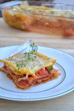 kuchnia na obcasach: Lazania warzywna z sosem pomidorowym i trzema serami