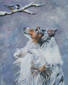 Shetland Sheepdog sheltie dog art CANVAS print of LA Shepard painting blue merle Border Collie, Colley, Art Sur Toile, Shetland Sheepdog Puppies, Dog Artist, Herding Dogs, Rough Collie, Sheltie, Pics Art