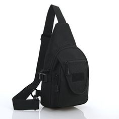 Yaekoo Outdoor Sports Sling Bag Chest Pack Casual Oxford Fabric Waterproof Cross Body Bag Shoulder Backpack with Adjustable Shoulder Strap for Cycling Hiking Camping Travel Black *** Visit the image link more details.
