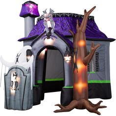 Airblown Halloween Inflatable Haunted House with Dead Tree, Rising Ghost and Light Show, 9' Tall x 10' Long