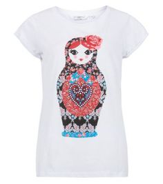 White Patchwork Russian Doll T-Shirt
