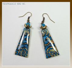 Turquiose & Bronze Vintage Inspired Dangle Earrings, polymer clay jewelry via Etsy