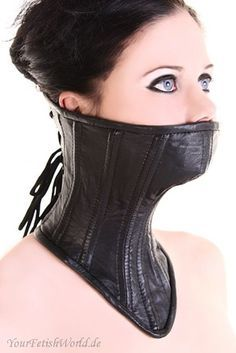 This collar is made of black premium lambskin leather. 11 steel spring, flexible boning. Tightness of this collar is adjustable by the lace-up on the back. Cotton Lining. Length Front - 30 cm Length Back - 16 cm Color - black Sizes avaliable:XS, S, M, L, XL Size chart ( in cm, complete closed):