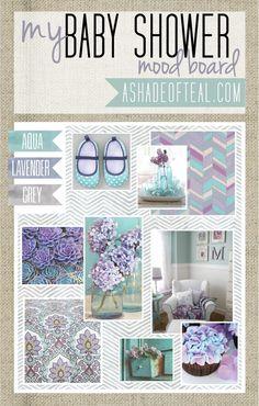 Lavender Purple Aqua Grey, Baby Shower Ideas,  Mood Boards