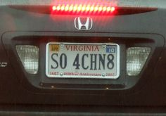 Pretty clever plate! Funny License Plates, Vanity License Plates, Licence Plates, Licence To Kill, Teen Driver, Name Suggestions, Vanity Plate, Just For Laughs, Bumper Stickers