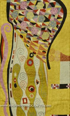 "Klimt-Mustard-Modern-Abstract-Rug-3x5. Inspired by the works of modern artist, Gustav Klimt. This motif brings to mind not only Klimt's famous ""Tree of Life"" painting, but also Kandinsky's colorful concentric circles. A delightful depiction of abstract modern art, this design is chain stitched into a meta-motif of the soul approaching the tree of life. Since the 15th century, Kashmiri artisans have produced the finest chain stitch crewel work in the world."