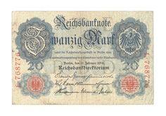 Reichsbanknote vom 19.02.1914 über 20 Mark, Reichsmark, Deutschland   eBay Ebay, Paper, Money, Germany