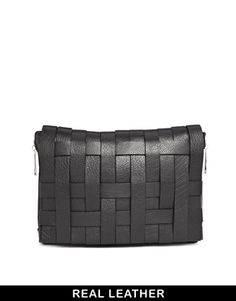 Image 1 ofASOS Leather Bondage Weave Chunky Clutch Bag