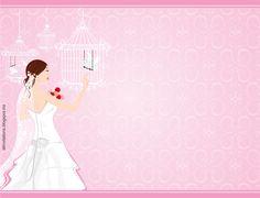 Invitación despedida de soltera novia posando con jaulas de palomas