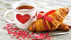 croissant breakfast baking croissant breakfast coffee cup mug heart love heart HD wallpaper for computer or android device Good Morning Gift, Good Morning Coffee, Coffee Time, Valentines, Cappuccino Tassen, Happy Tea, Cool Desktop, Coffee Heart, Buen Dia