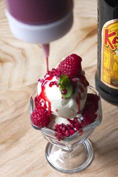 Triple Raspberry Sundae  with fresh, dehydrated & coulis raspberries  Full menu: http://www.kahluacoffeehouse.com/menus