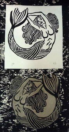 Mermaid Linocut and print By Nicole Wood